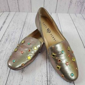Katy Perry The Turner Jeweled Metallic Loafers NEW